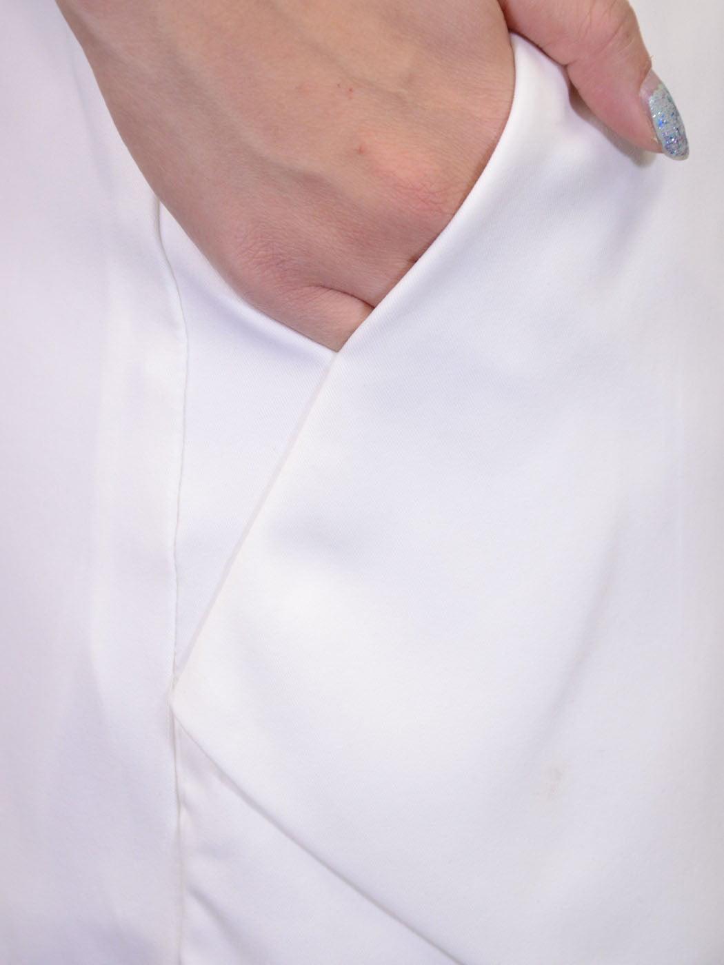 5e3837e929 Feinuhan - Very J White Wrap Crossover Fabric Mini Skirt With Front And Back  Pockets - Walmart.com