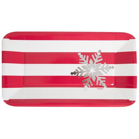 Foil Rectangle Paper Appetizer Elegant Red Christmas Plates, 8ct