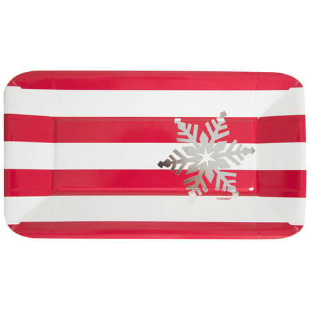 Foil Rectangle Paper Appetizer Elegant Red Christmas Plates, - Paper Christmas Tableware