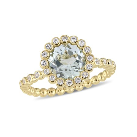 2 Carat T.G.W. Green Amethyst and White Sapphire 10kt Yellow Gold Halo Engagement Ring