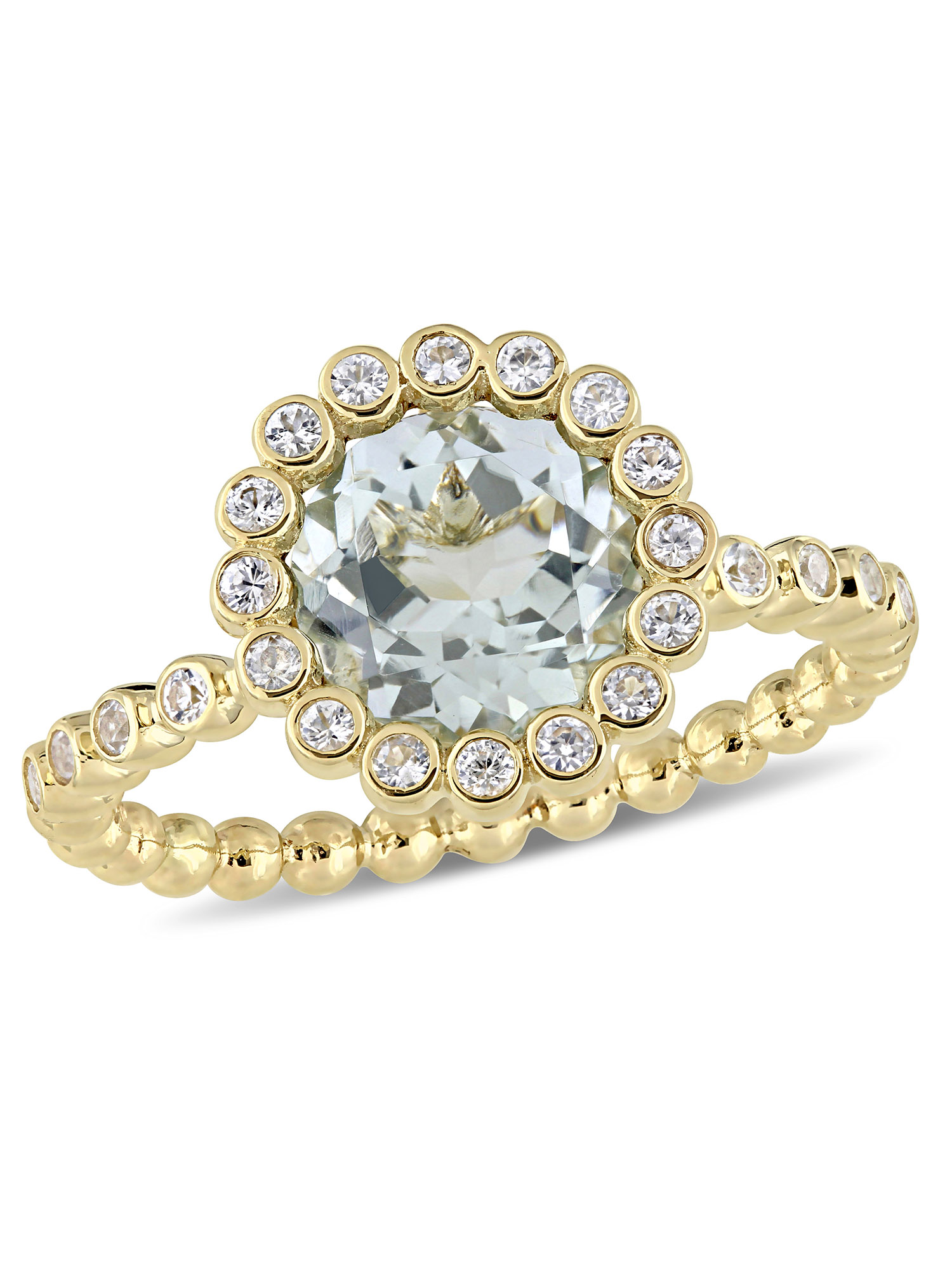 Tangelo 2 Carat T.G.W. Green Amethyst and White Sapphire 10kt Yellow Gold Halo Engagement Ring