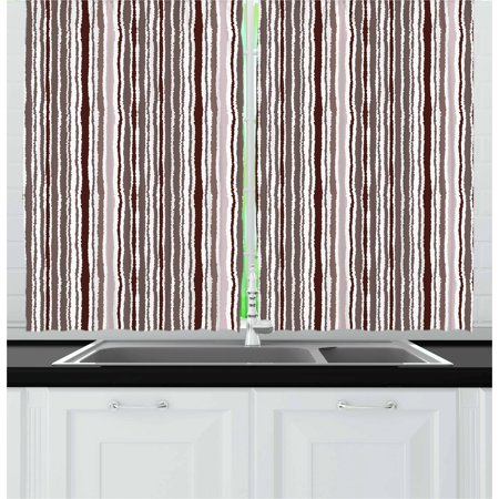 - Geometric Curtains 2 Panels Set, Vertical Lines Torn Paper Style Shred Edge Striped Pattern, Window Drapes for Living Room Bedroom, 55W X 39L Inches, Dark Brown Taupe and Pale Mauve, by Ambesonne