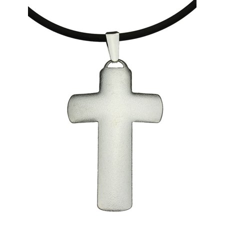Sterling Silver Satin Domed Large Cross Pendant Rubber Cord Necklace Italy, 18