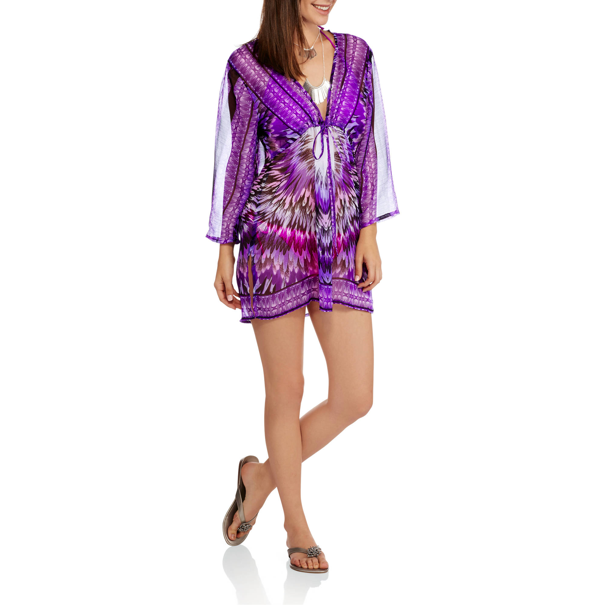 Women's Swim Feather Cover-Up Tunic