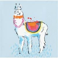 "Pack of 120 Blue and White Llama Fiesta Decorative Beverage Napkin 5"""