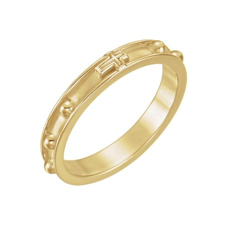 18k Yellow Gold Rosary Ring Size 11