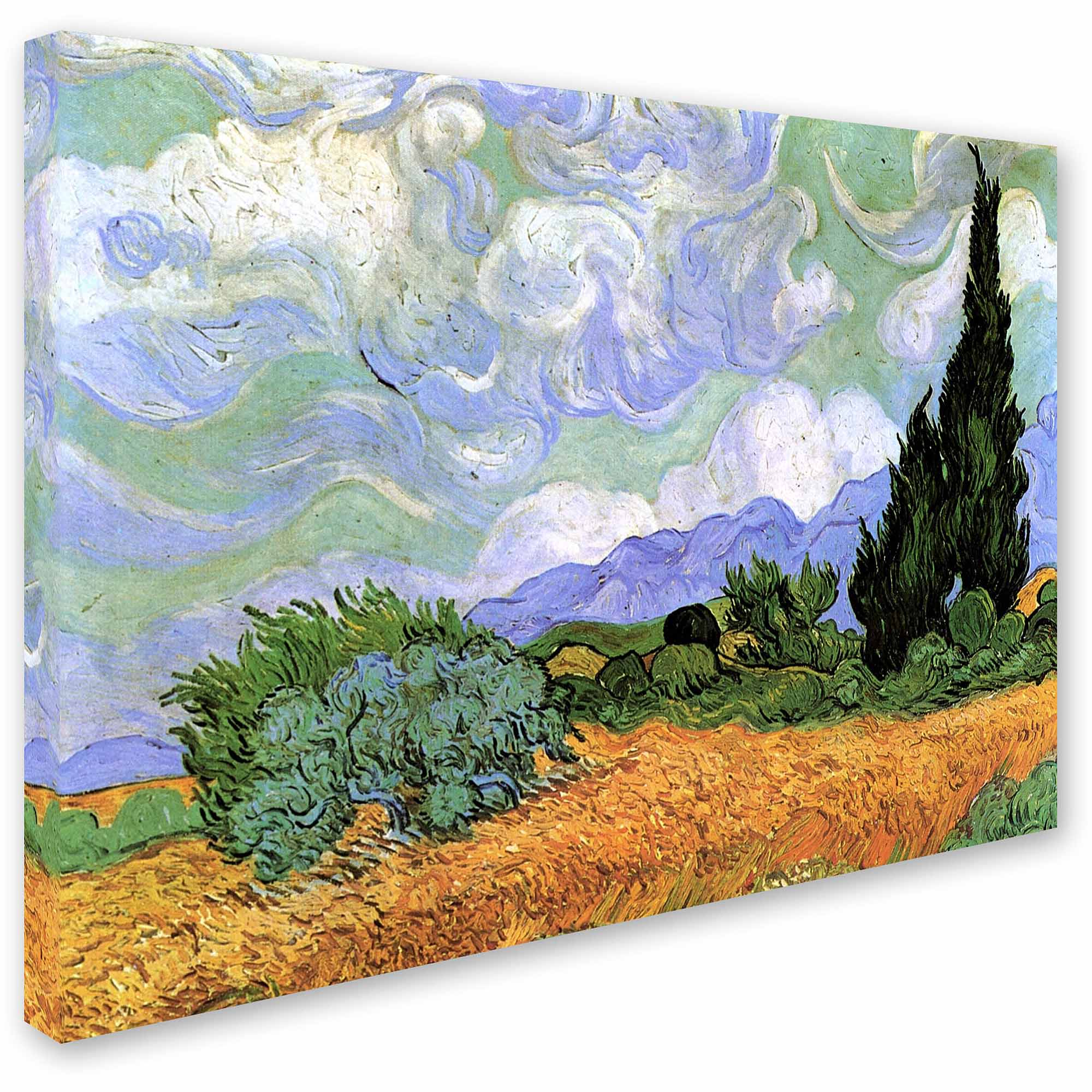 "Trademark Art ""Wheatfield with Cypresses, 1889"" Canvas Art by Vincent van Gogh"