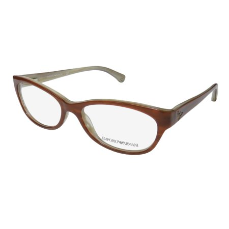New Emporio Armani 3008 Womens/Ladies Cat Eye Full-Rim Brown Gorgeous High Quality Cat Eyes Frame Demo Lenses 53-16-140 Spring Hinges Eyeglasses/Eyewear - Baby Eyes Brown Halloween Contact Lenses