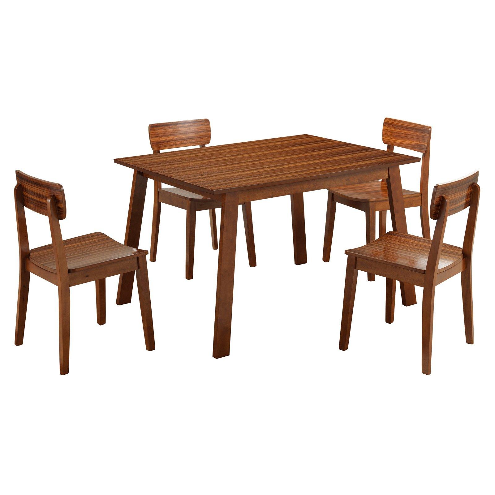 Click here to buy Boraam Hagen 5-Piece Zebra Series Dining Room Set, Walnut by Boraam Industries.