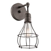 Kichler 43603 1-Bulb Wall Sconce From The Industrial Cage Collection - Weathered Zinc