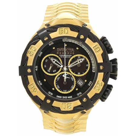 21346 Men's Bolt Reserve Black Accented Bezel Black Dial Yellow Gold Steel Chrono Dive Watch ()