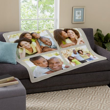 Personalized photo tile plush blanket - available in 4 colors Personalized Woven Throw Blanket