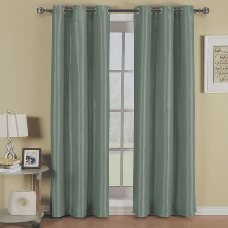 (#32) Hotel Quality SILVER Grommet Top, FAUX SILK  1 PANEL SLATE BLUE SOLID THERMAL FOAM LINED BLACKOUT HEAVY THICK WINDOW CURTAIN DRAPES  GROMMETS 95