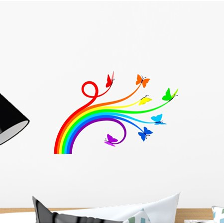 Rainbow Butterflies Wall Decal by Wallmonkeys Peel and Stick Graphic (12 in W x 8 in H) WM151008