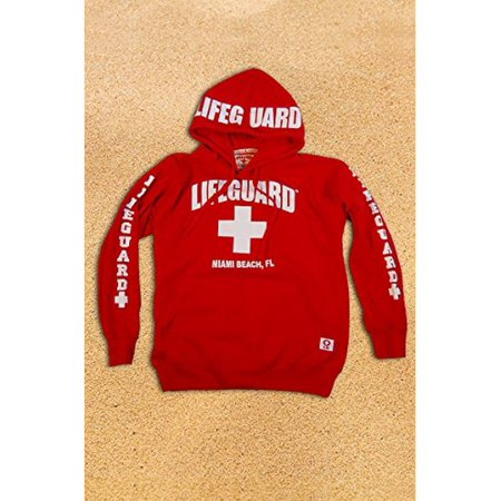 Lifeguard Kids Miami Beach Florida Life Guard Sweatshirt Red Hoodie (Youth - Red Kids Hoodie