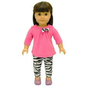 "Doll Dress -2 Piece Clothing Shirt and Zebra Print Leggings Fits American Girl Dolls, Madame Alexander and Other 18"" Dolls"