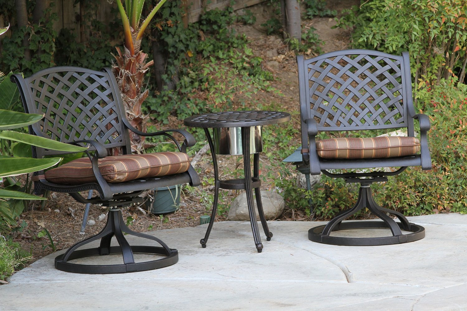 Nassau Outdoor Patio 3pc Set With Round Ice Chest End Table