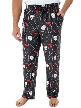 Friday The 13th Men's Jason Hockey Mask Allover Pattern Sleep Pajama Pants