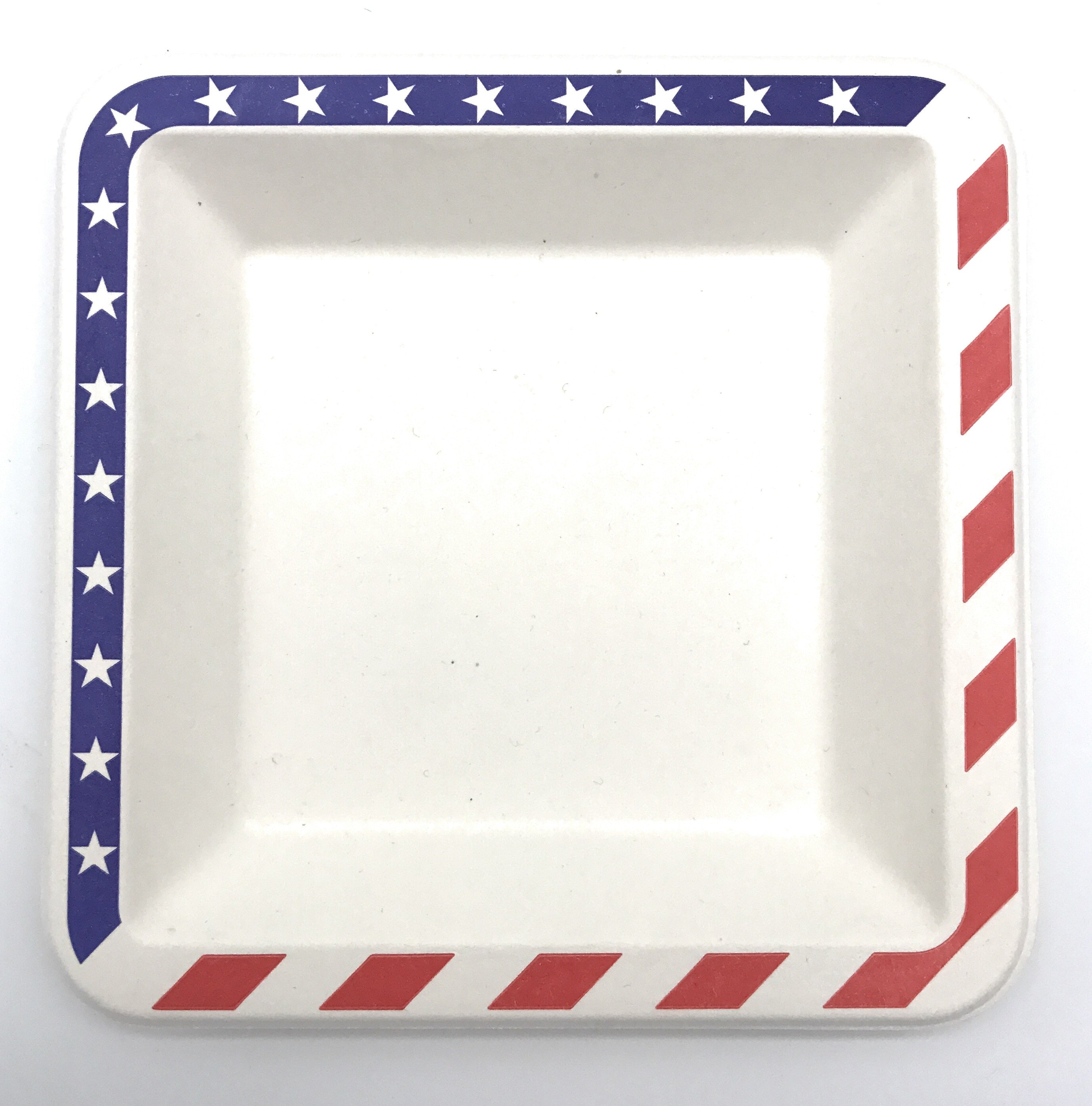 (50 pcs) 6.5\  inches American Flag Contemporary Bagasse Eco Disposable Plates - Natural & 50 pcs) 6.5\