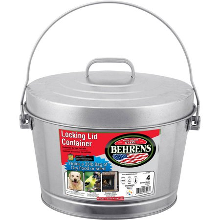 Behrens High Grade Steel 6104 4 Gal Silver Galvanized Steel Dry Storage Can with Locking Lid](Galvanized Bucket)