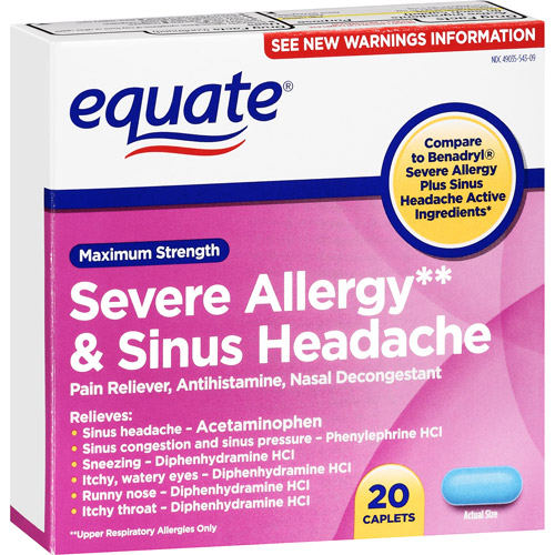 Equate: Severe Allergy & Sinus Headache Maximum Strength Caplets Antihistamine, 20 Ct
