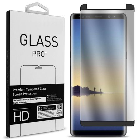 CoverON Samsung Galaxy Note 8 Tempered Glass Screen Protector - InvisiGuard Series Full Coverage 9H with Faceplate (Case Friendly)