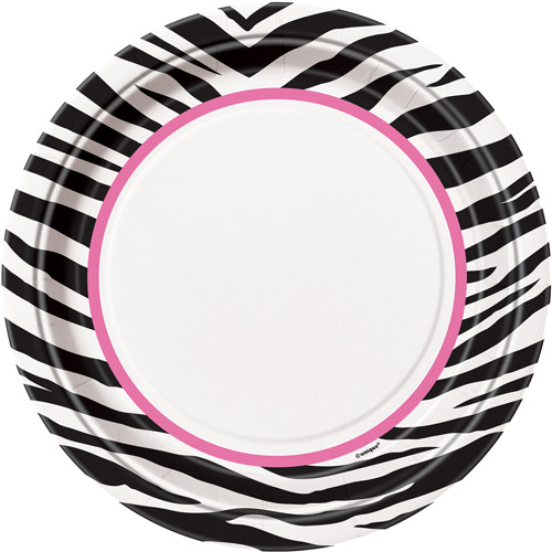 "9"" Zebra Print Party Plates, 8ct"
