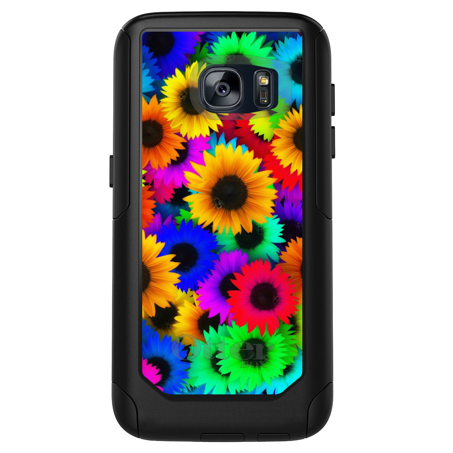 DistinctInk™ Custom Black OtterBox Commuter Series Case for Samsung Galaxy S7 - Red Green Yellow Sunflowers