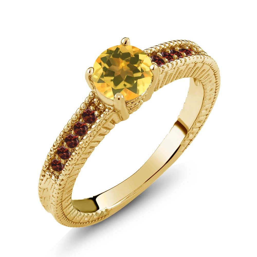 0.90 Ct Round Yellow Citrine Red Garnet 925 Yellow Gold Plated Silver Ring