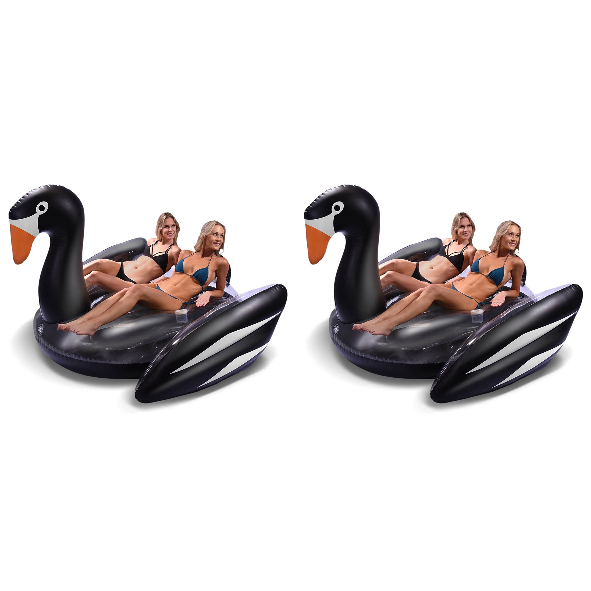 GoFloats Giant Large Inflatable Voyage Swan Pool Lake Water Float Raft (2 Pack)