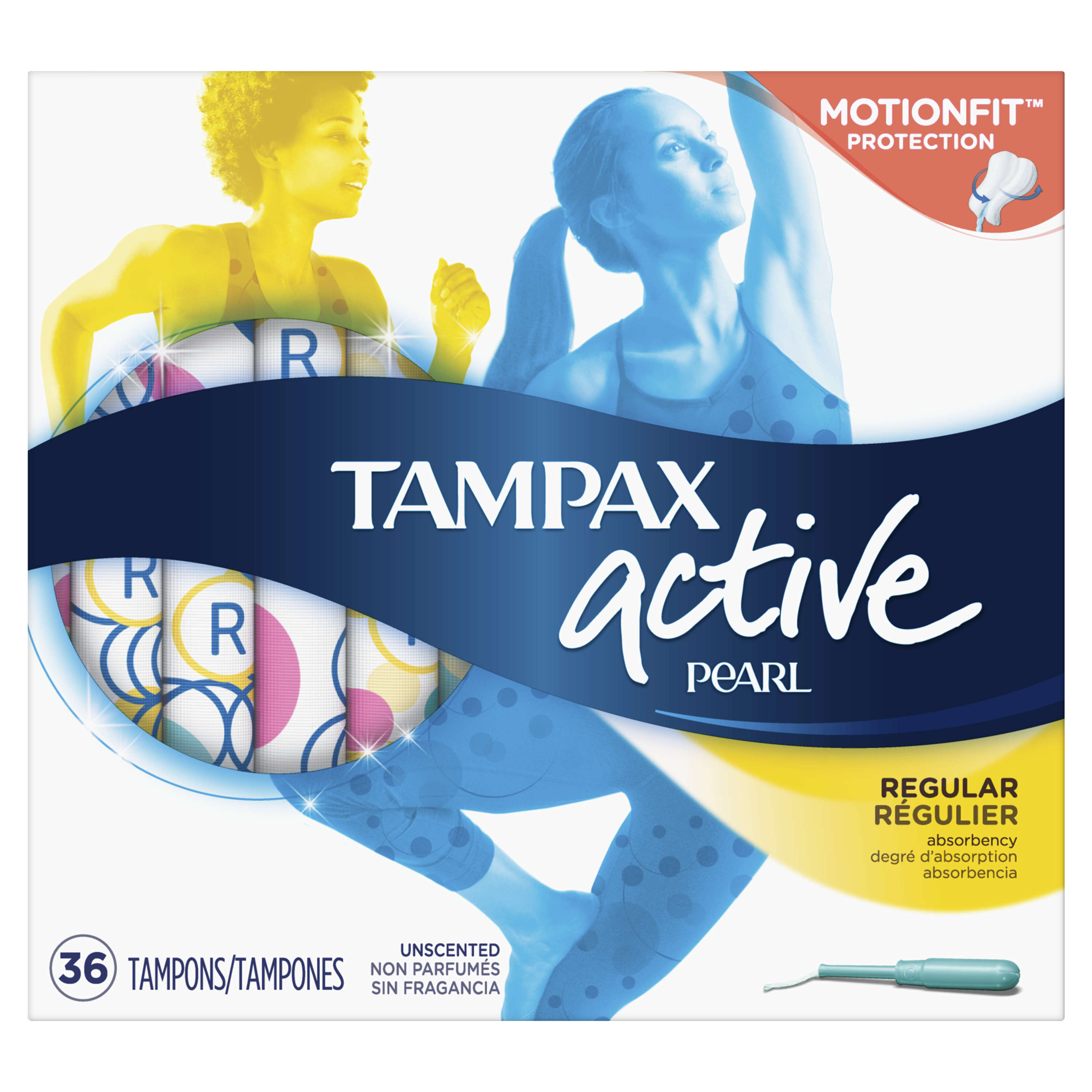 Tampax Pearl Active Plastic Tampons, Regular Absorbency, Unscented (Choose Your Count)