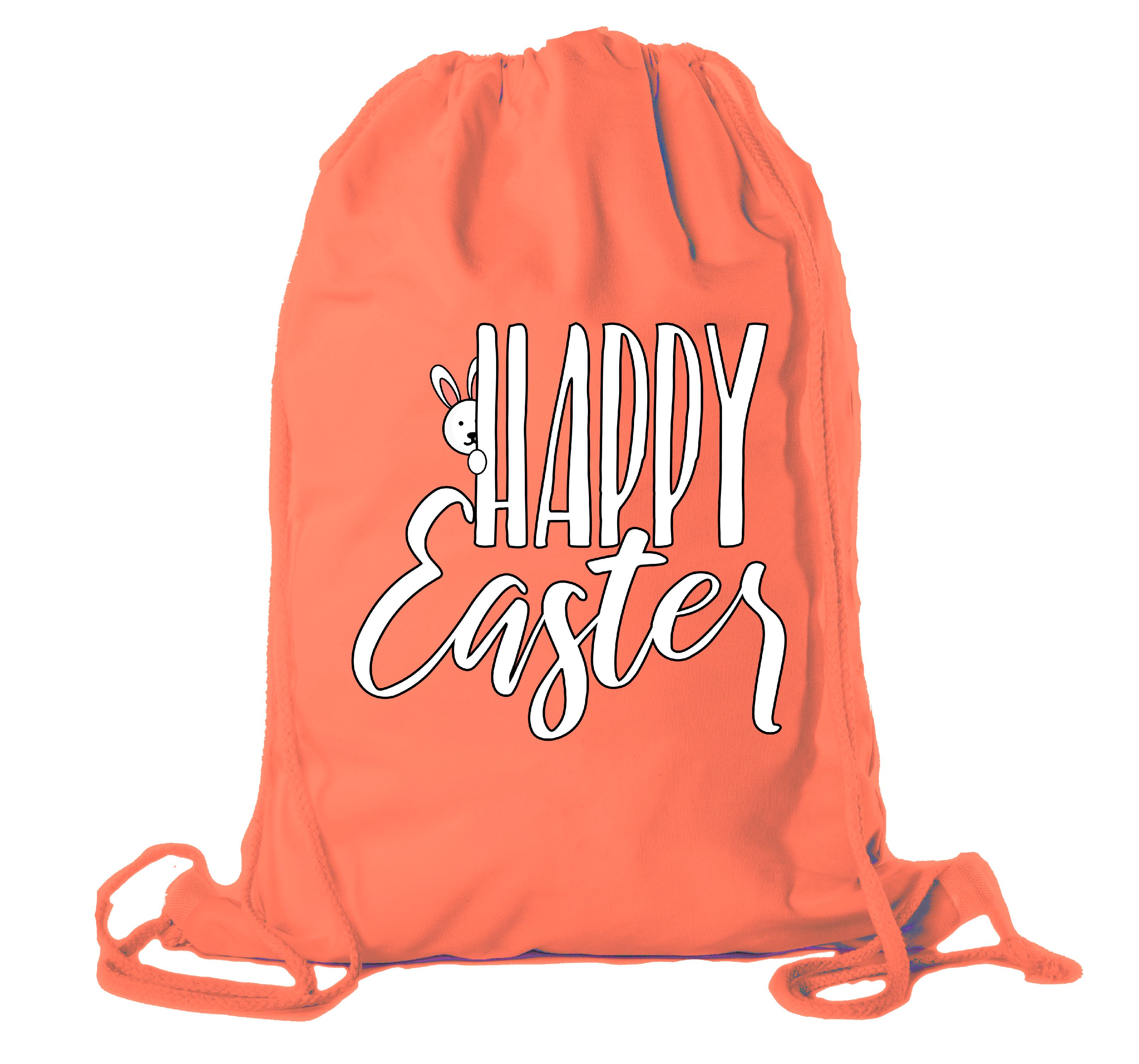 Easter Basket Backpack Bulk Cotton Drawstring Cinch Bags Easter Bunny Gift Bags - Peaking Bunny