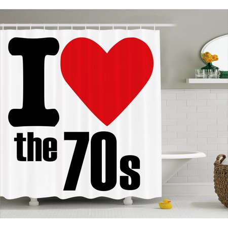 70s Party Decorations Shower Curtain, I Love The 70s Pictogram Party Card Inspired Retro Letters Heart, Fabric Bathroom Set with Hooks, 69W X 70L Inches, Red Black White, by - 70s Party