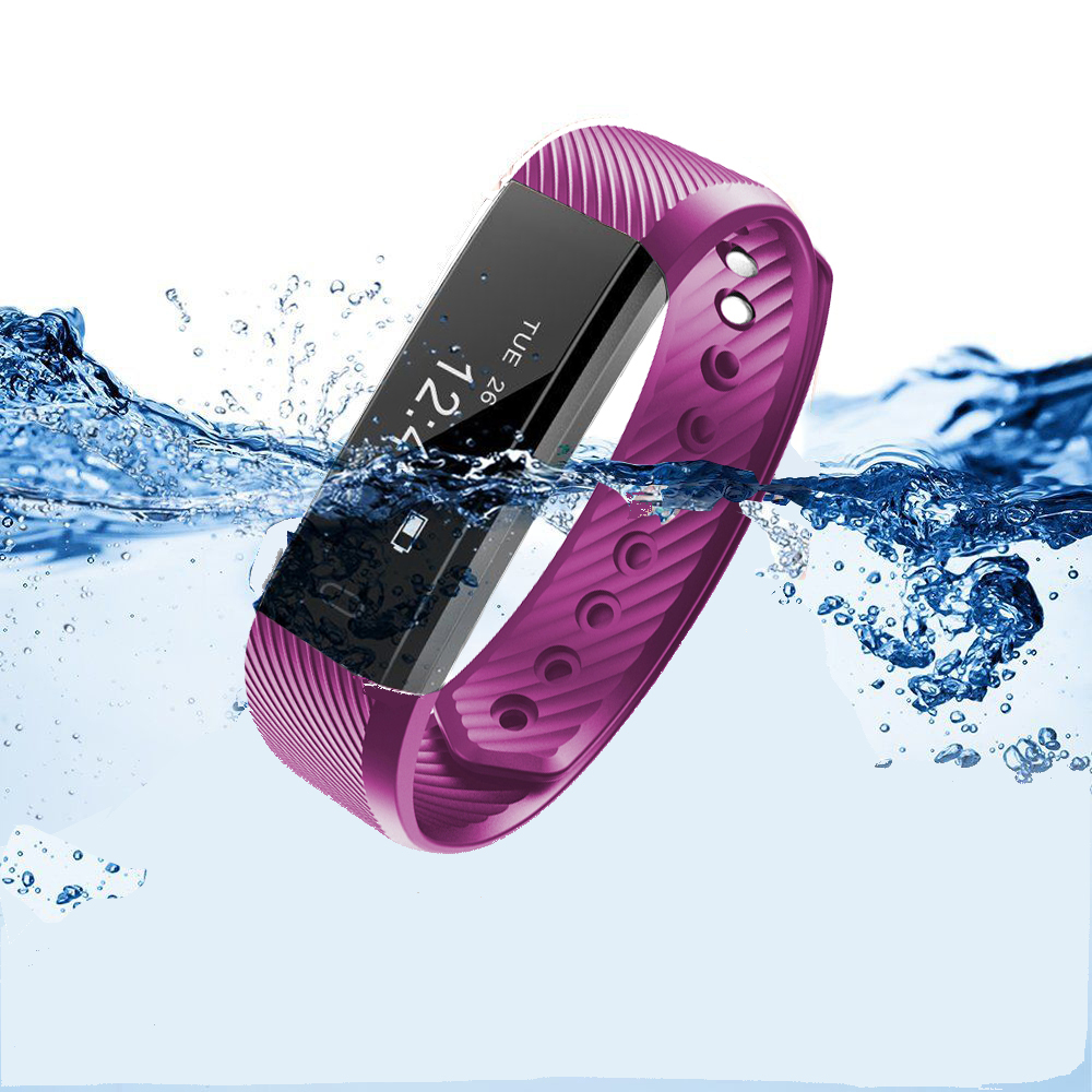 HK IP67 Waterproof Bluetooth Fitness Tracker Watch Smart Wristband Bracelet w/Built-in Charger for Android Iphone