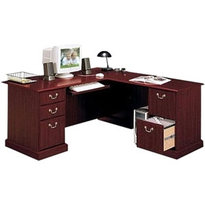 Bush Saratoga L-Shape Executive Desk in Harvest Cherry