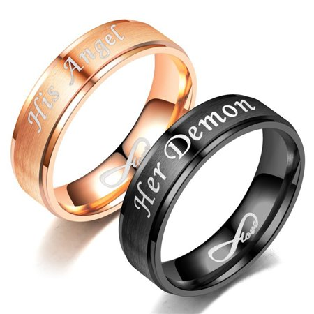 Directer His Sally Her Jack Titanium Steel Romantic Matching Couple Ring Lovers Gift