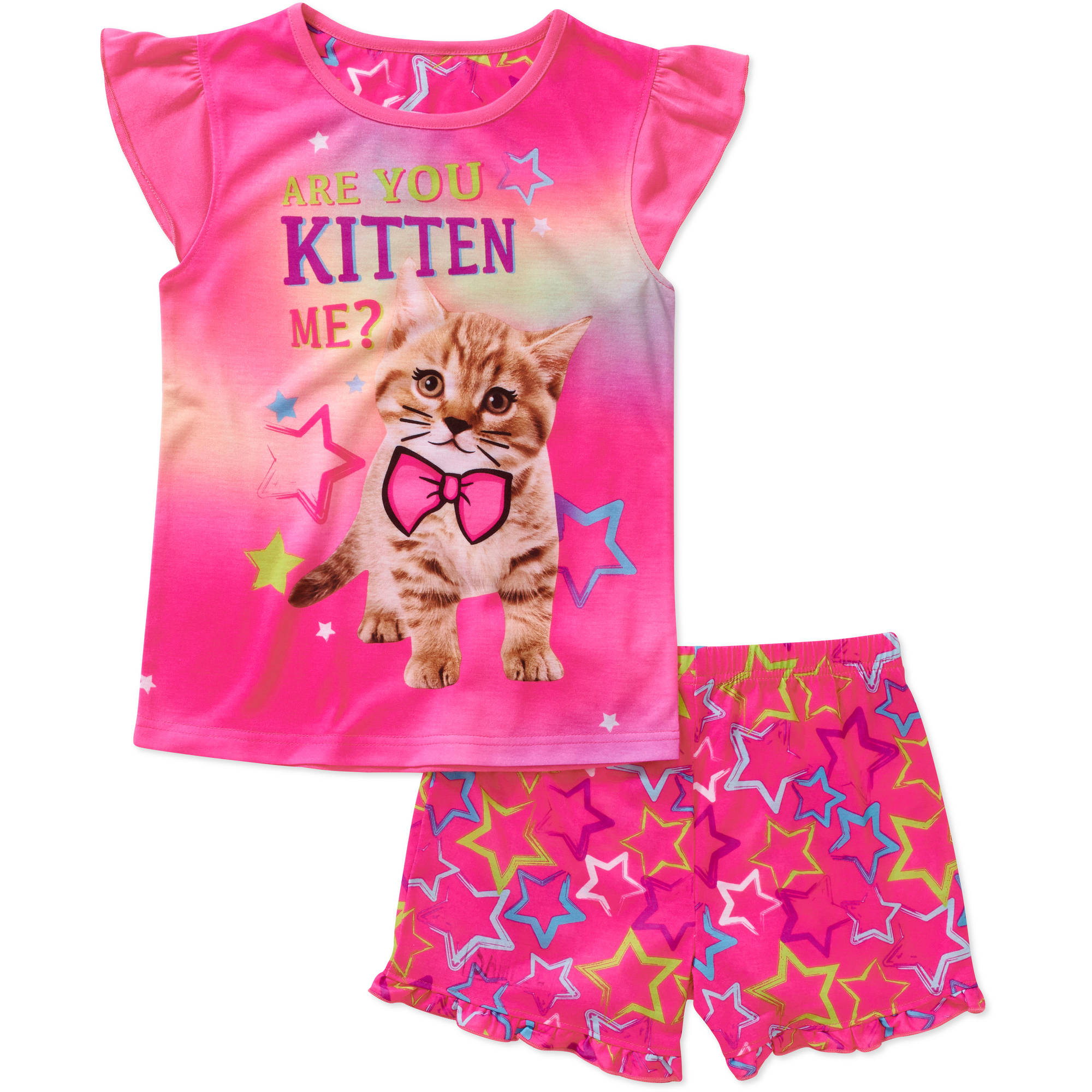 Girls' Photo Real Graphic Short Sleeve Sleep Top and Shorts 2 Piece Pajama Set