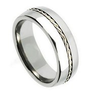 8mm Titanium Grooved with Braided Sterling Silver Inlay Wedding Band Ring For Men Or Ladies