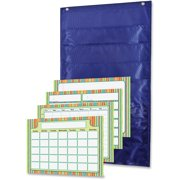 Carson-Dellosa Publishing Pocket Chart, Weekly, 6 Pockets, Polyester, 15w x 27 3/4h, Blue, 1 Kit