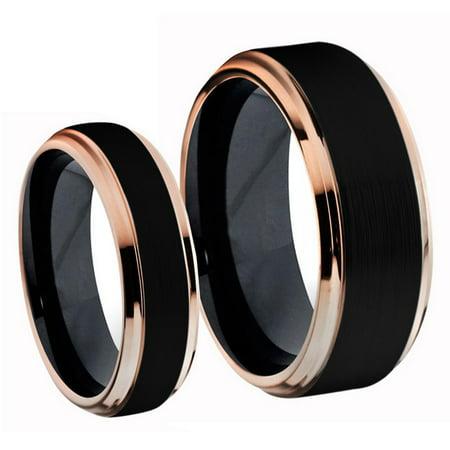 His & Hers Titanium Two-Tone Black IP & Rose Gold IP Brushed Center Wedding Band Romg Set