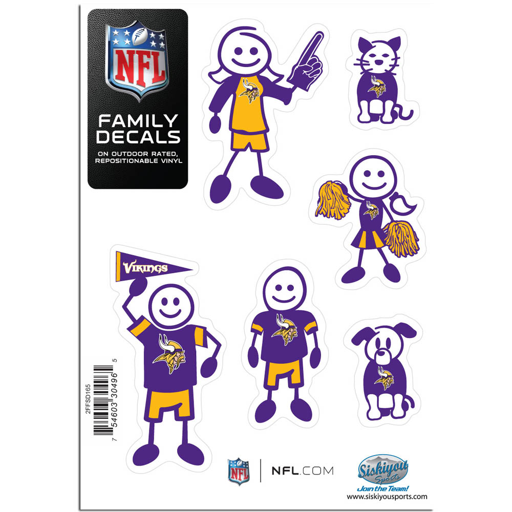 Minnesota Vikings Official NFL Small Family Decal Set by Siskiyou 304965