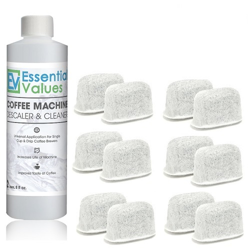 Keurig Descaler & BONUS 12 PACK Replacement Keurig Filters (Brewer Care Kit), Universal Descaling Solution, Decalcifier & Coffee Maker Cleaner by Essential Values ... (Descaler & 12 Filters)