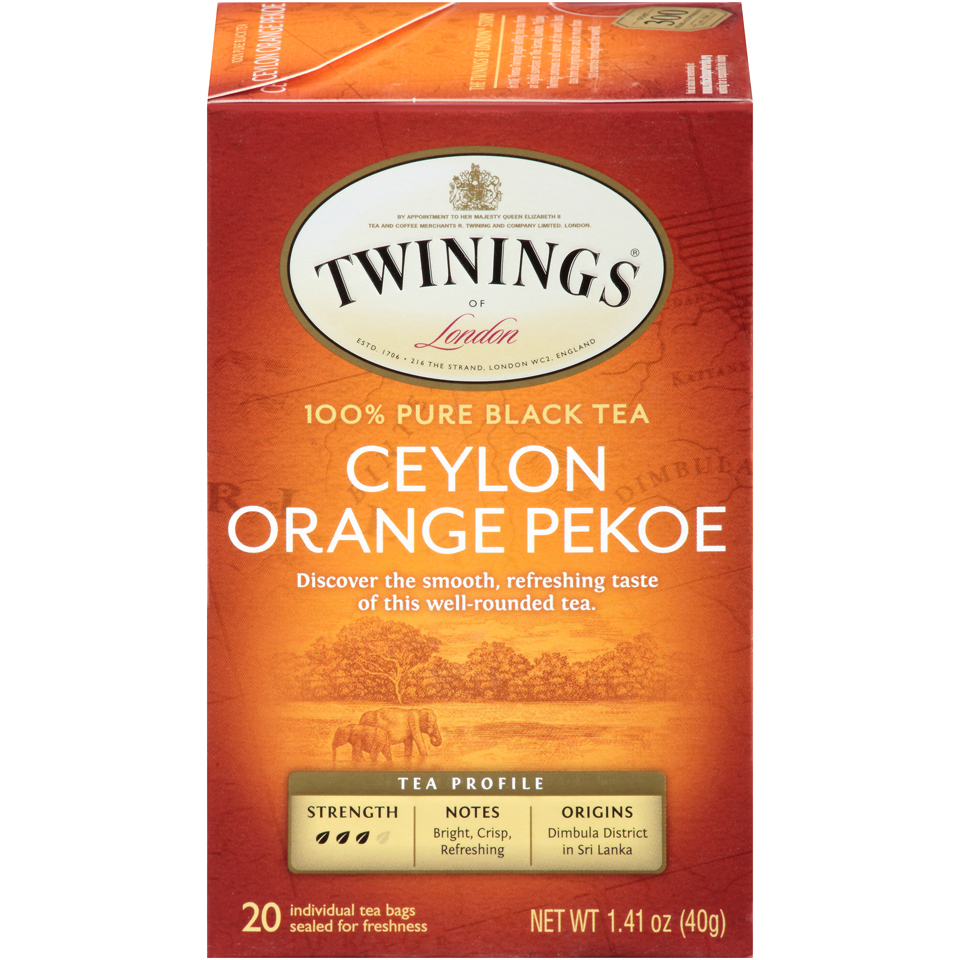 Twinings of London Ceylon Black Tea Bags, 20 Count, Pack of 6