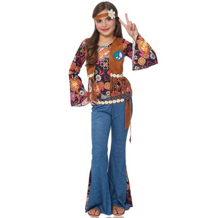 Peace Out Girls Hippie 70s Flower Child Halloween Costume - 70s Look For Kids