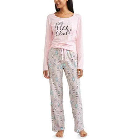 (JV Apparel Women's and Women's Plus Printed Novelty Dreamy Fleece 2-Piece Set)