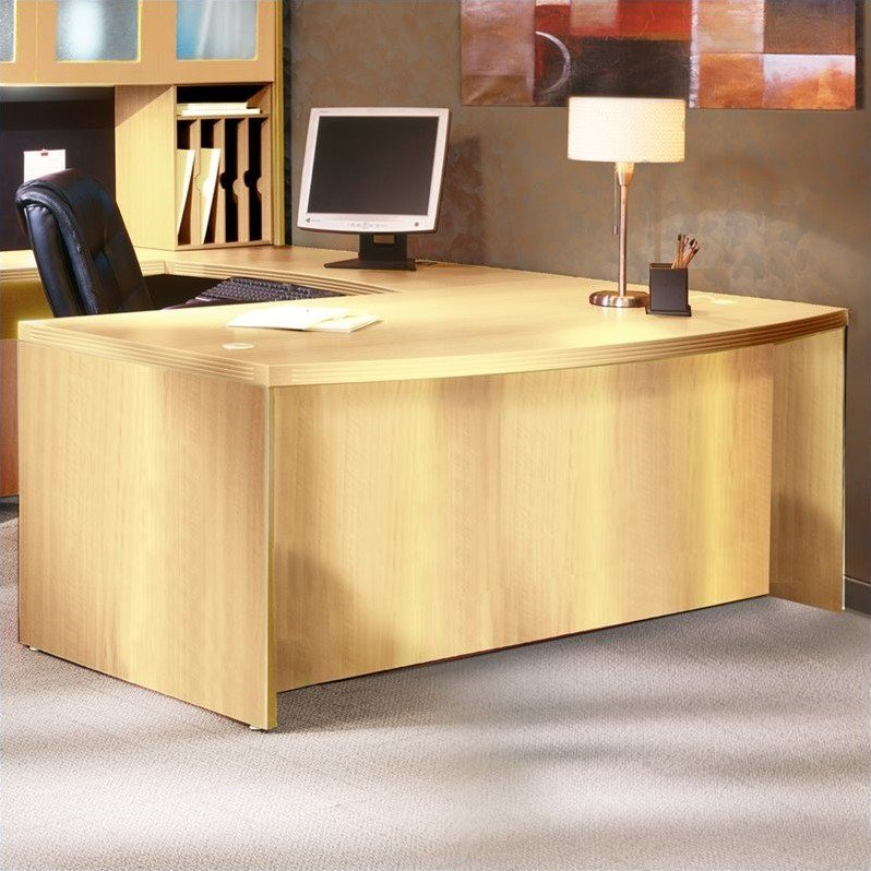"""Mayline Aberdeen Bow Front Desk Shell in Maple-66"""""""