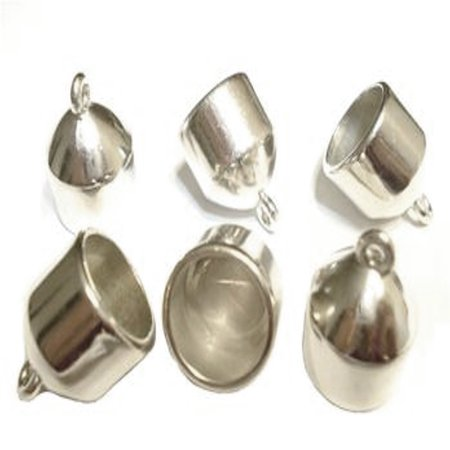 12x Small Size Silver Tone Scarf Caps Ends Cuts Attach Ends of Scarves S05730