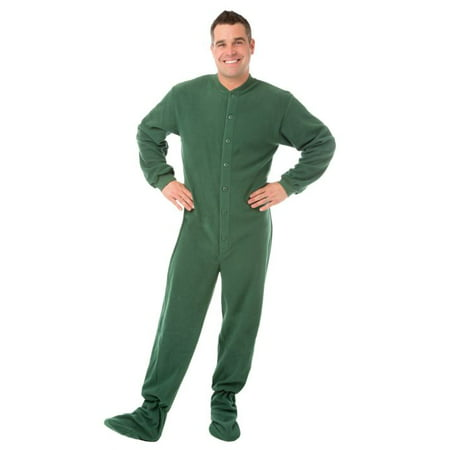 Big Feet PJs Green Micro-polar Fleece Adult Footed Pajamas Sleeper with Rear Flap