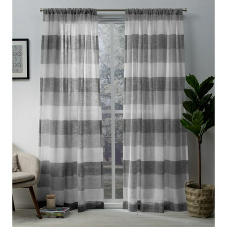 Home Rod Pocket (Exclusive Home Curtains 2 Pack Bern Stripe Sheer Rod Pocket Curtain Panels )