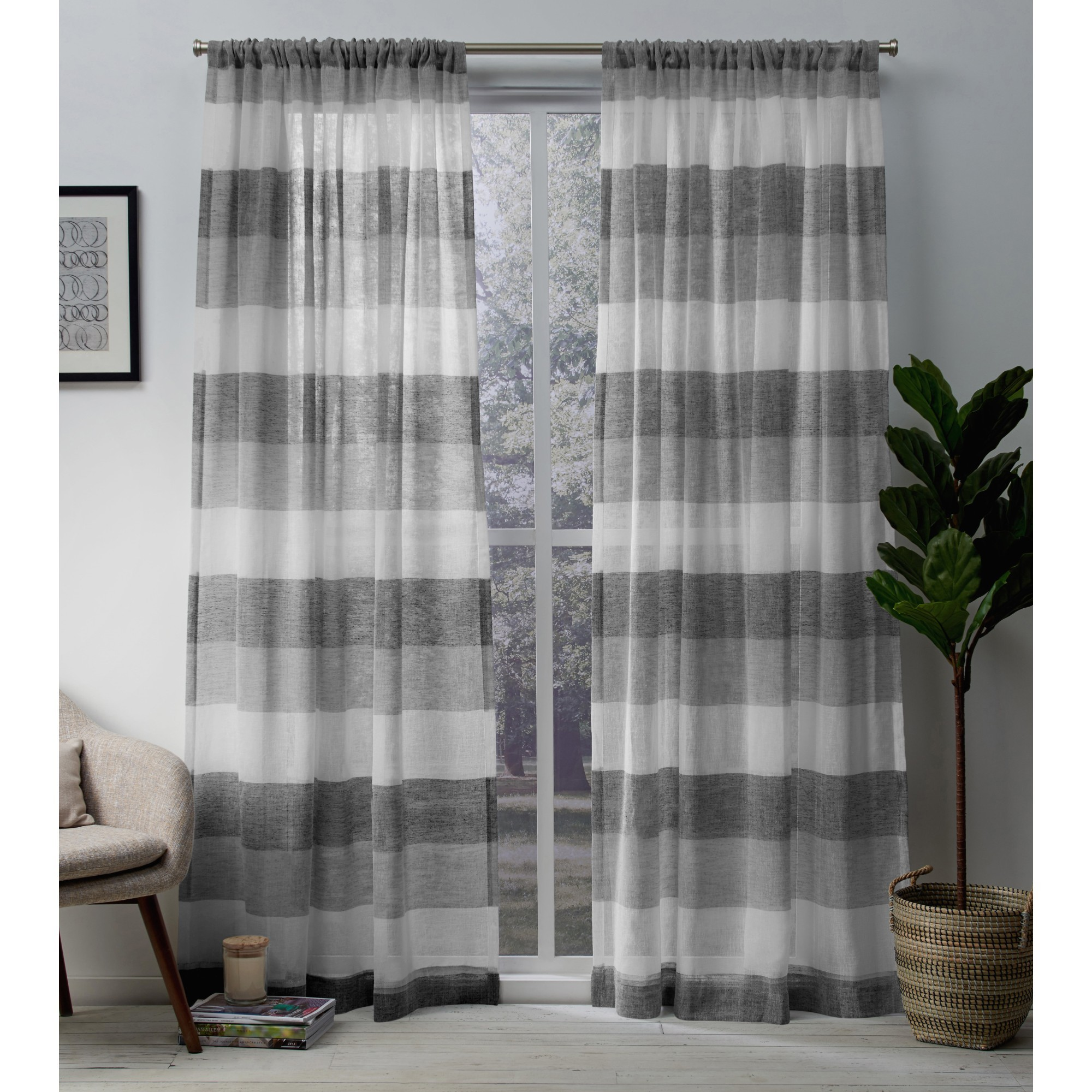 Exclusive Home Curtains 2 Pack Bern Stripe Sheer Rod Pocket Curtain Panels